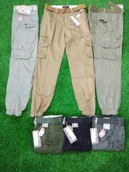 Cotton/Linen Plain Men''s Branded Six Pocket Cargo Long Pant, Size: X-XXL