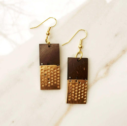 Golden And Dark Brown Beats Coconut Dipped Gold Earrings