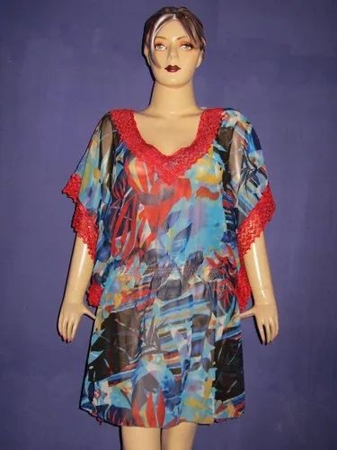 Chiffon Ladies Kaftan With Lace