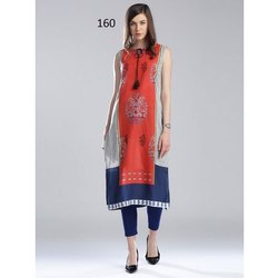 Fancy Sleeveless Digital Printed Kurti