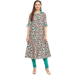Yash Gallery Womens Cotton Floral Print Anarkali Kurta