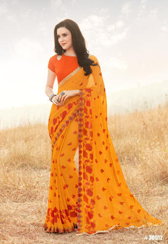 Mustard Georgette Printed Party Wear Saree