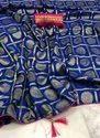 Navy Blue Jacquard Silk Wedding Wear Saree