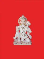 Sitting Hanuman Marble Statue