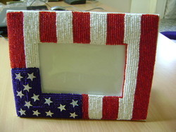 Flag Design Beaded Photo Frame