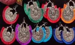 Everythings Indian Multicolor Oxidised Tassel Chandbali Earrings - Navratri Garba Special