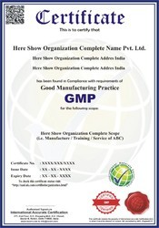 GMP (Good Manufacturing Practice) Certification and Consultancy Service