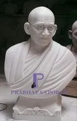 White Marble Gandhi Ji Bust, for Interior Decor