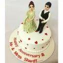 Round Vanilla Anniversary Theme Cake, Packaging Type: Box