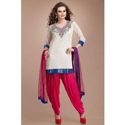 Stitched Cotton and Georgette Ladies Fancy Salwar Suit, Handwash