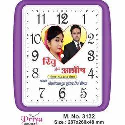 Priya Quartz Square Shape Purple Wall Clock, Size: 287x260x 48, Packaging Type: Box