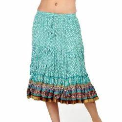Sea Green Rajasthani Block Print Cotton Skirt