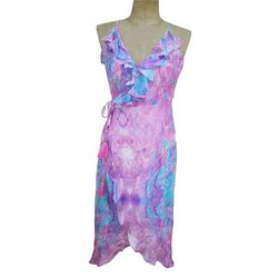 Cotton Lycra V-Neck Ladies Digital Printed Midi Dress