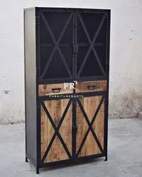Industrial & Vintage Iron Metal & Reclaimed Wood Tall Storage Cabinet