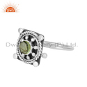 Peridot Gemstone Oxidized 925 Silver Antique Design Women Rings