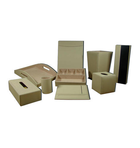 Cream Leather Hotel Room Accessory, Packaging Size: Cardboard Box