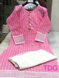 Ladies Cotton Chikan Embroidered Kurti