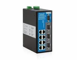 8-Port Managed Industrial Ethernet Switch with 4 Serial Ports