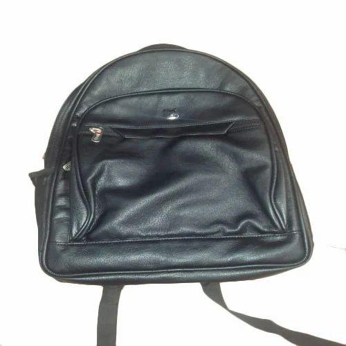 d32ace98176b Plain Leather Black Backpack