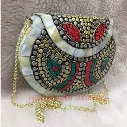 Ethnic Beaded Clutch Purse