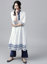 WHITE SOLID ANARKALI WITH HAND BLOCK PRINTED HEMLINE