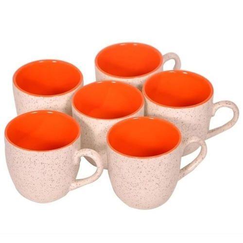 White And Orange Marble Mug, for Home