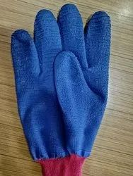 Blue Cotton Nitrile Half Dipped Gloves