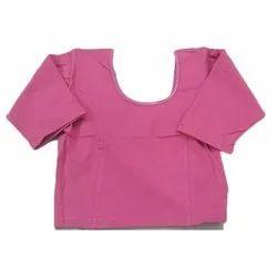 Ladies Plain Pink Cotton Lycra Blouse