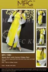 MFC-1583 KURTI WITH COTTON CHIKAN PANT