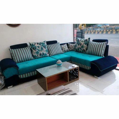 Blue Color L Shape Sofa