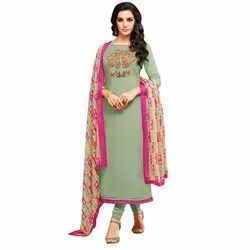Rajnandini Dusty Green Chanderi Silk Embroidered Semi-Stitched Dress Material With Printed Dupatta