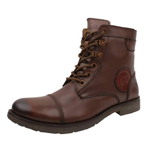 Mens Leather Brown High Ankle Boot, Rs