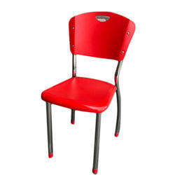 Stainless Steel and Plastic Red Cafe Chair