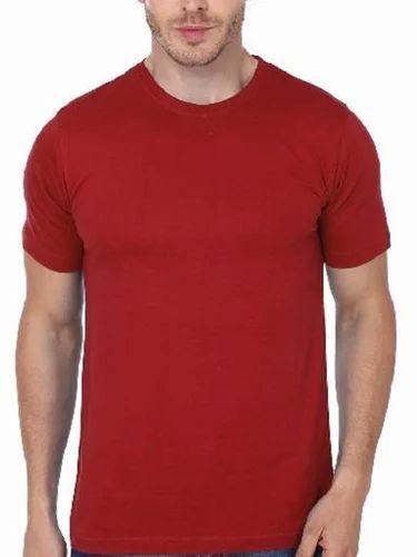 99fec70a44 Mens Plain Solid Half Sleeve T Shirt Red