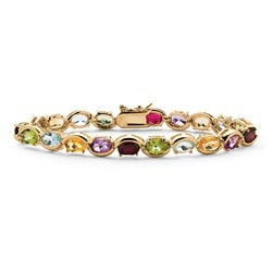Oval-Cut Multi  Gemstone Gold Plated Bracelet