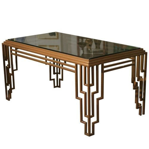 Delicieux Brown Rectangle Art Deco Coffee Table
