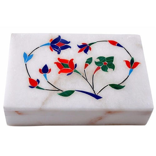 White Marble Jewelry Box, Rectangle