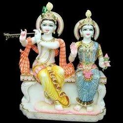 Marble Radha Krishna Sitting Statue