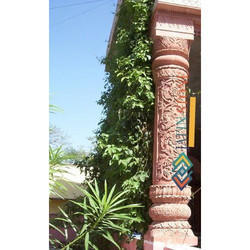 Agra Red Detailed Carving Pillar