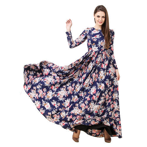 83426987f Navy Blue Floral Maxi Dress at Rs 999 /piece | मैक्सी ...