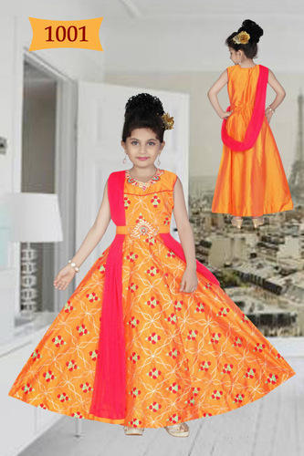 9346e07569af Silk Party Wear Kids Embroidered Stylish Anarkali Lehenga Suits