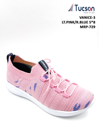 Pink Casual Wear Ladies Sports Shoes, Size: 5*8