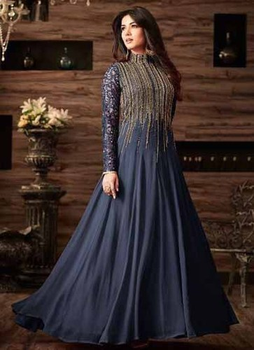 Blue Net, Georgette Wedding-wear-georgette-net-embroidery-gown-4806 ...