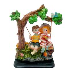 Marble Look Boy Girl on Swing Statue/ Showpiece Gift Item