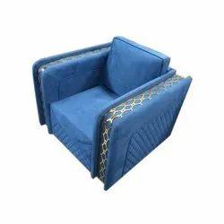 Blue Designer Low Back Single Seater Sofa, For Home