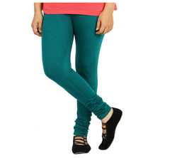 Plain Seagreen Colour Full Length Cotton Lycra Leggings, Size: Large