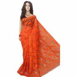 da251d12b826c Cotton Silk Festive Wear Orange Jamdani Saree