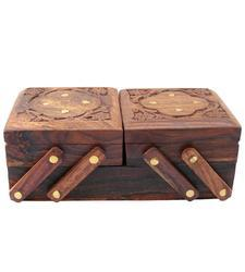 Brown Sheesham Wood Wooden Jewelry Box With Attractive Design, For Restaurants