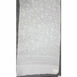 Polyester/ Viscose White Jacquard Shawls