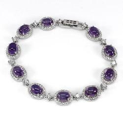 Silver Bracelet In Amethyst And Sterling Silver